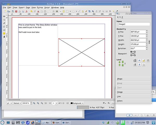 Scribus - Вставка графического объекта