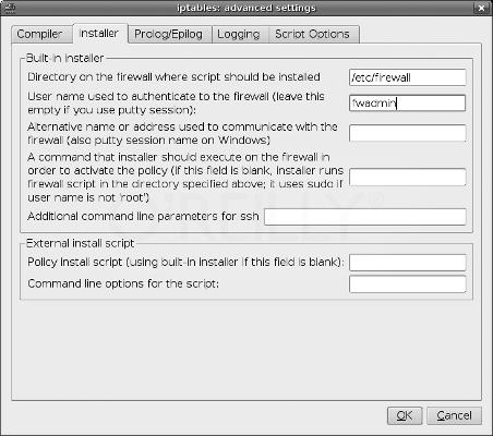 Firewall Builder. Настроечные параметры установки политики