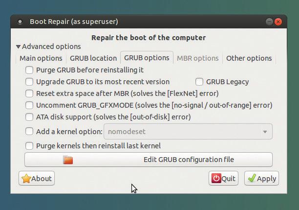 Как восстановить работоспосбность системного загрузчика GRUB 2