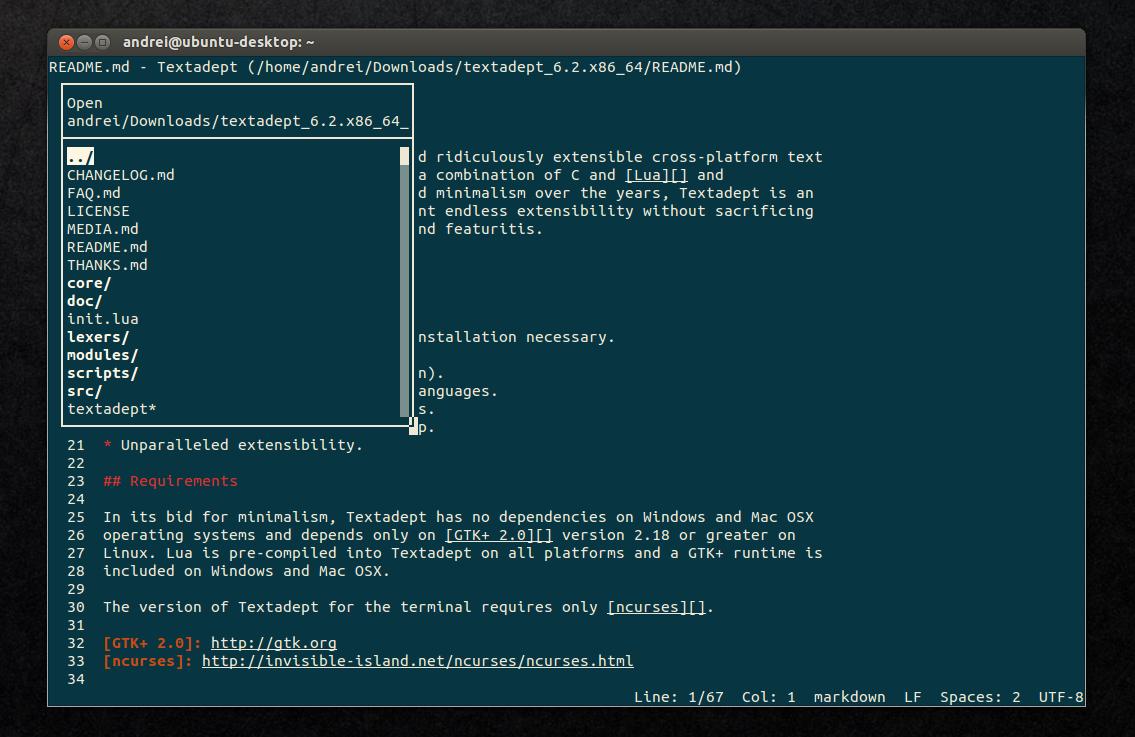 установка textadept в ubuntu