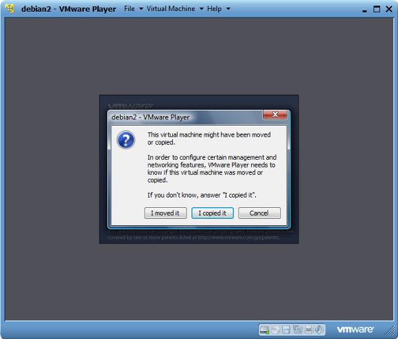 сообщение VMware Player