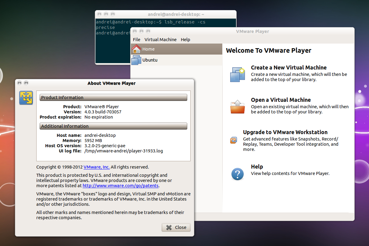 VMware Player 4.03 в Ubuntu 12.04