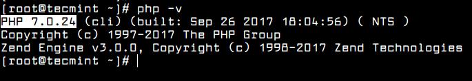проверка установленной версии php