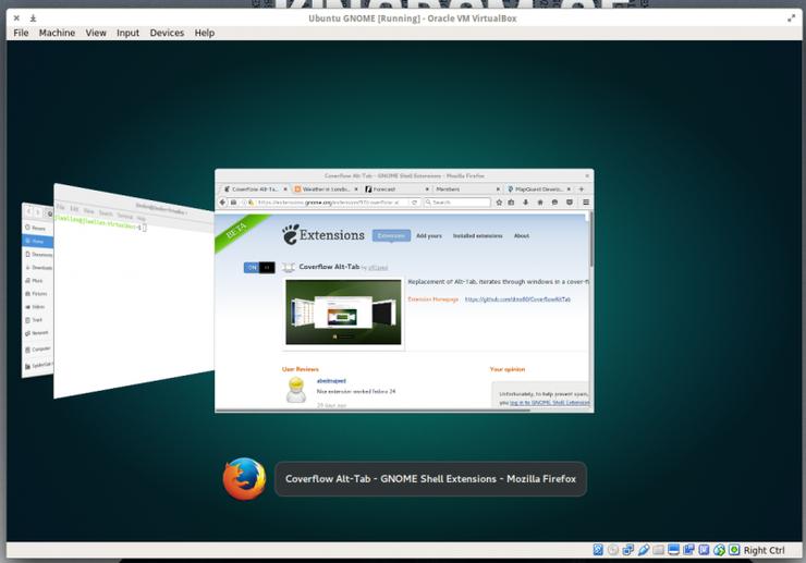 Расширение Coverflow Alt-Tab позволяет упростить процесс переключения между окнами запущенных приложений