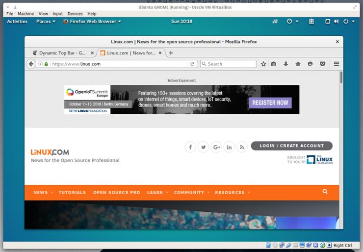 Расширение Dynamic Top Bar улучшает внешний вид окружения рабочего стола GNOME 3
